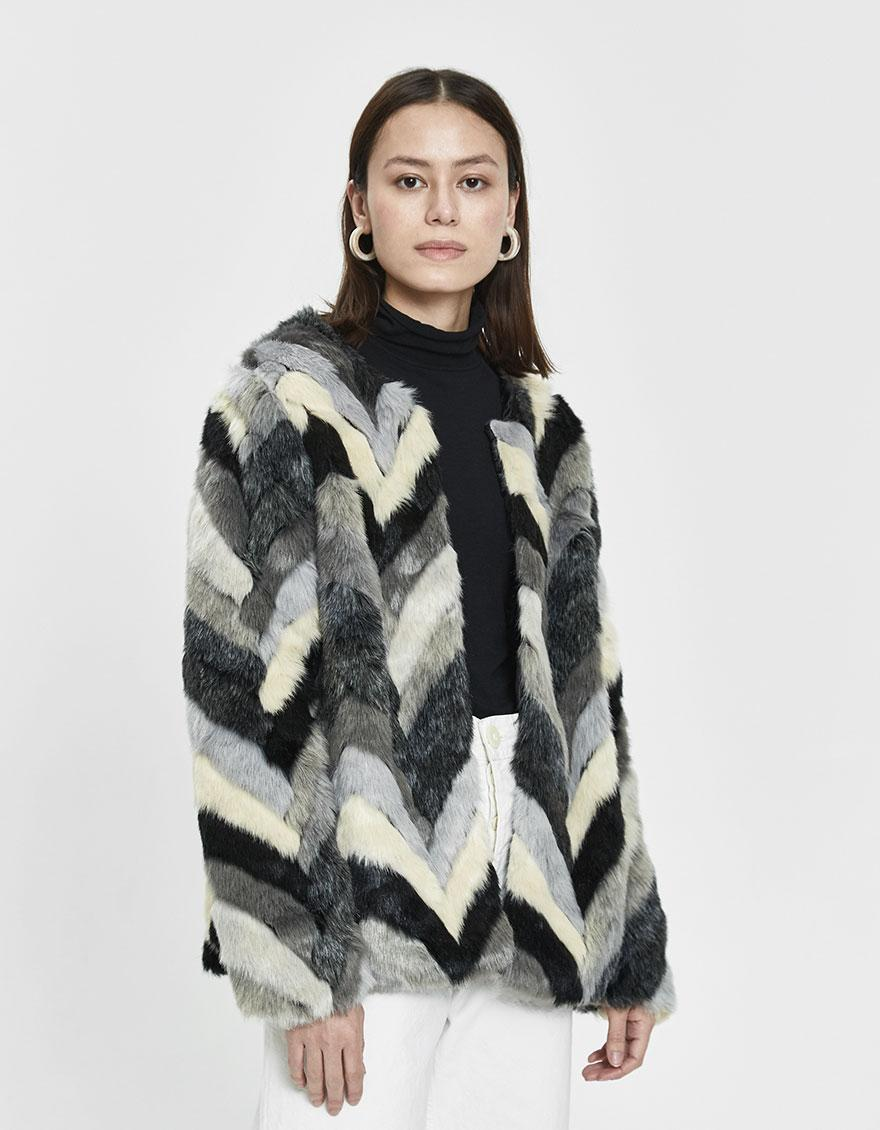7aa4547b4f0c Lyst - Stelen Gertrude Chevron Faux Fur Coat in Gray