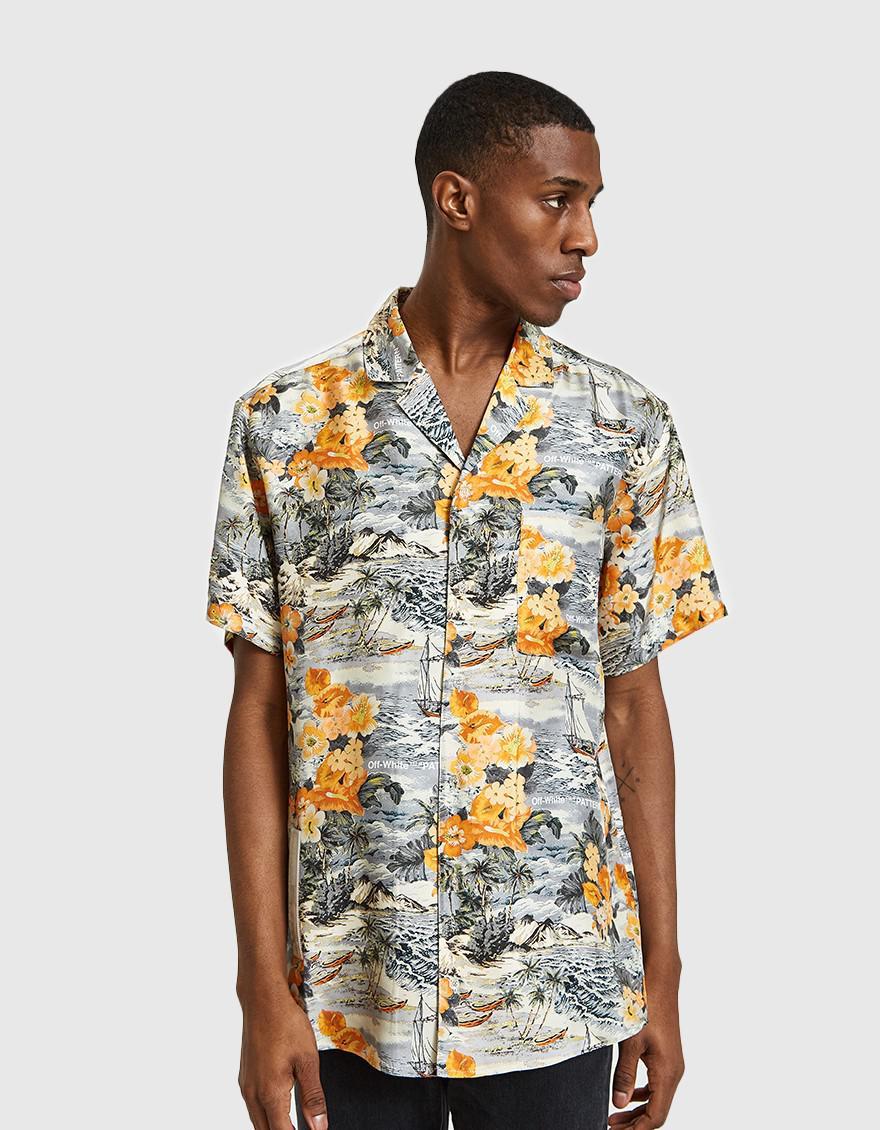 ee4a831ecf Lyst - Off-White c o Virgil Abloh Black   Orange Hawaiian Shirt for Men
