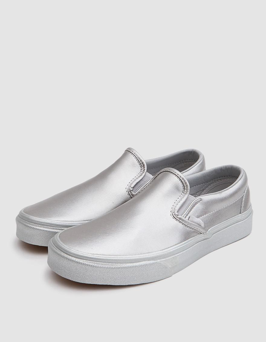 46d359fa7b Lyst - Vans Classic Slip On In Silver Leather in Metallic