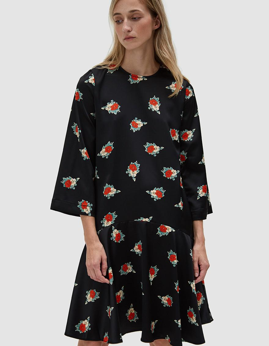 815a6bf6b102 Ganni Glenmore Ruffle Hem Dress in Black - Lyst