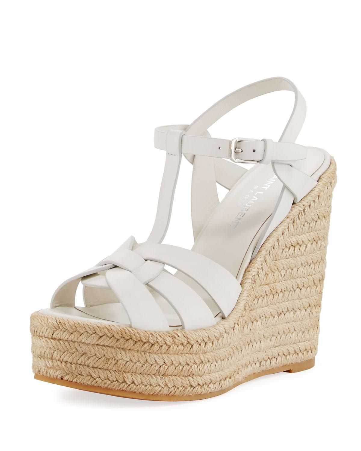 e22b25b2a84 Lyst - Saint Laurent Espadrille T-strap Wedge Sandals in White ...