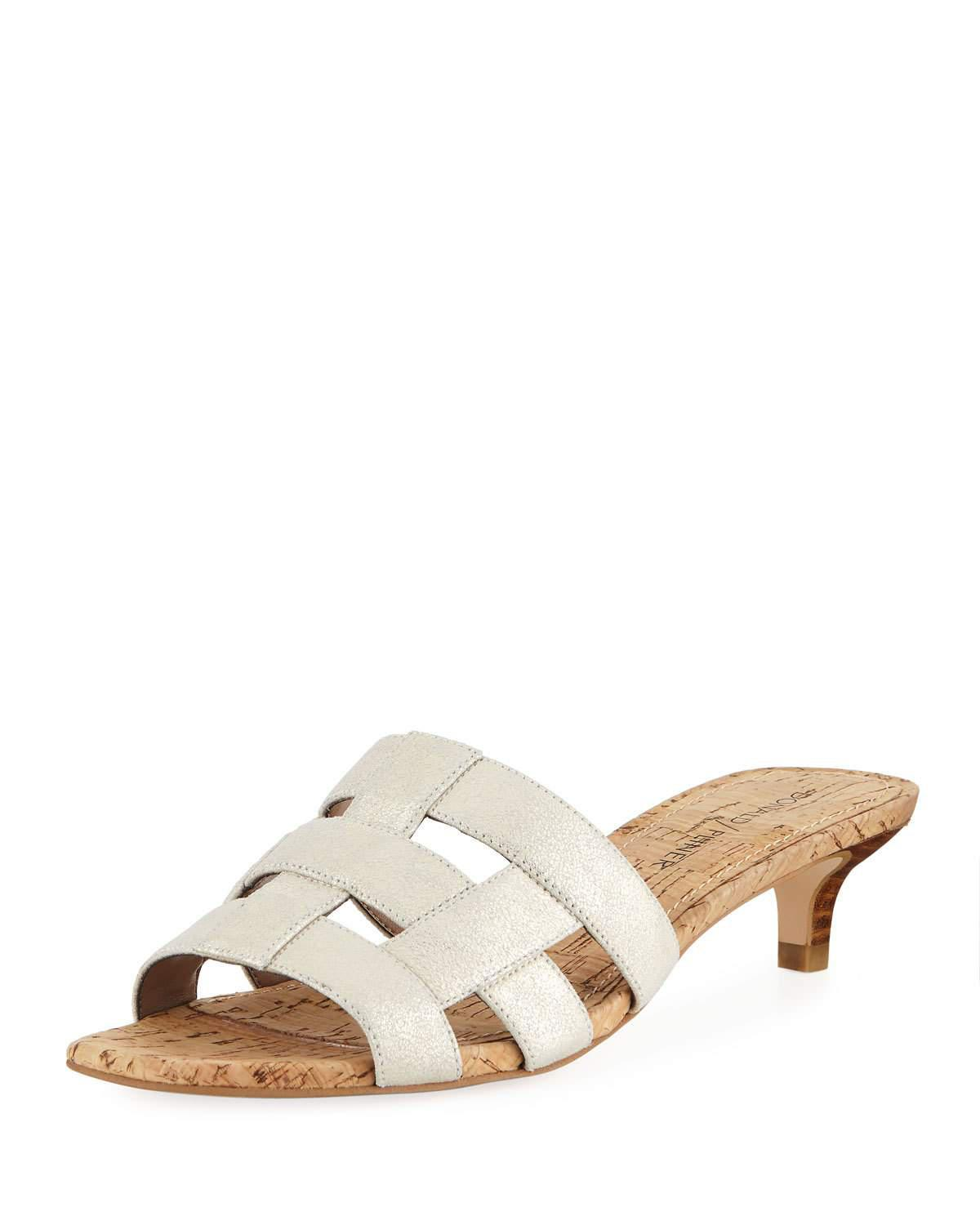 Donald Pliner Etta Metallic Satin Caged Mules