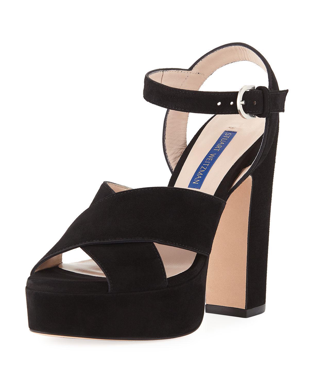 cb5424526448 Stuart Weitzman - Black Joni Suede Platform Sandals - Lyst. View fullscreen