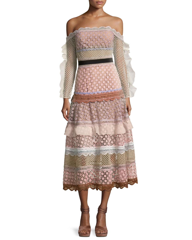 5ac86373e105 Self-Portrait Bellis Off-the-shoulder Lace-trim Midi Dress - Lyst