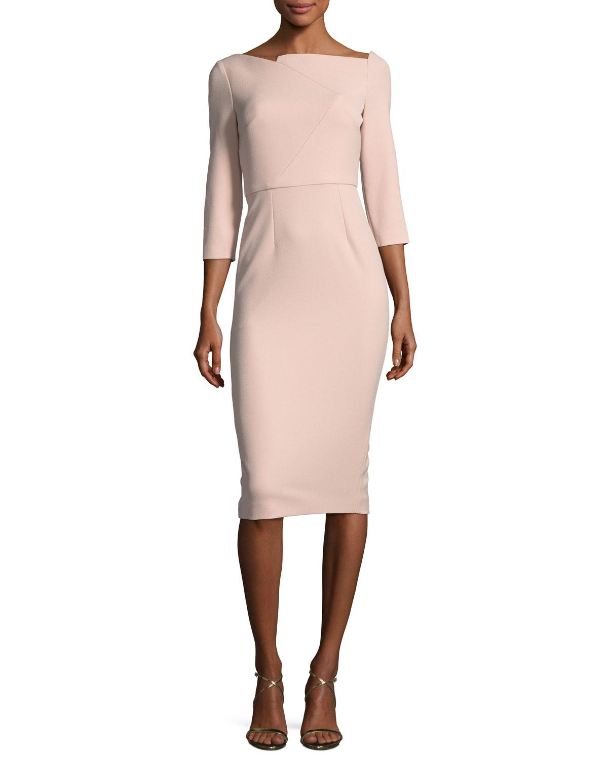 510e6e17f5a8 Lyst - Roland Mouret Boat-neck 3 4-sleeve Sheath Dress in Pink