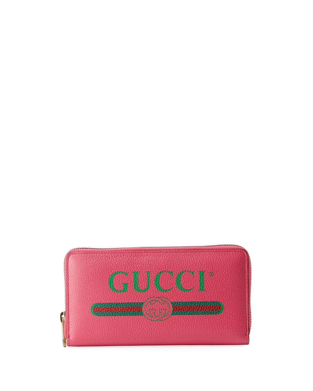 bad0e06294c8d3 Lyst - Gucci Web Logo Zip-around Wallet in Pink