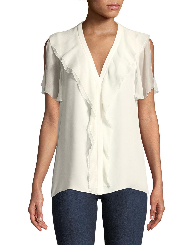 49fe1843693593 Lyst - Elie Tahari Opaline Ruffle-trim Silk Blouse in White