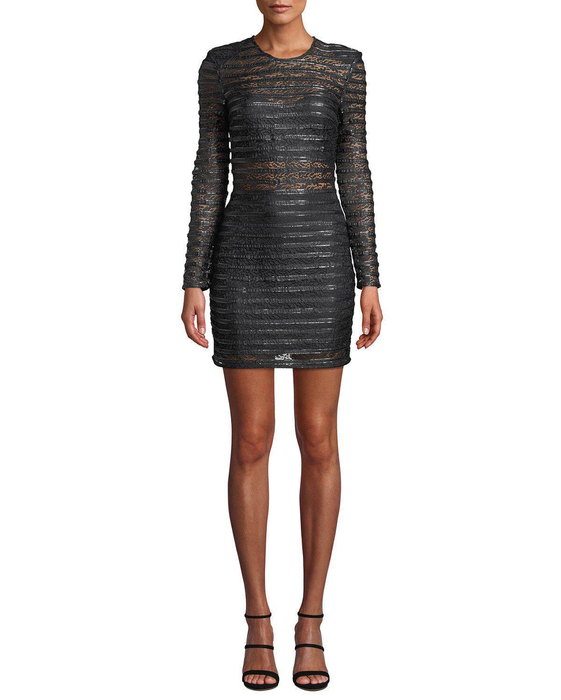 c262707e087a Elliatt Cyanite Long-sleeve Sheer Striped Mini Dress in Black - Lyst