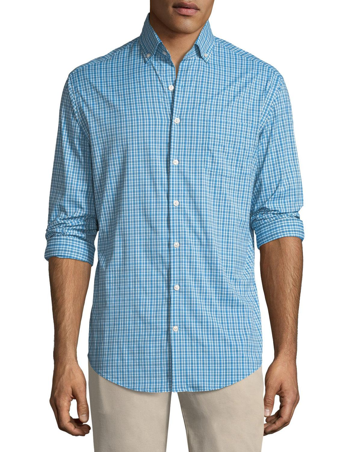 a68fbebe97eb Lyst - Peter Millar Barber Performance Check Sport Shirt in Blue for Men