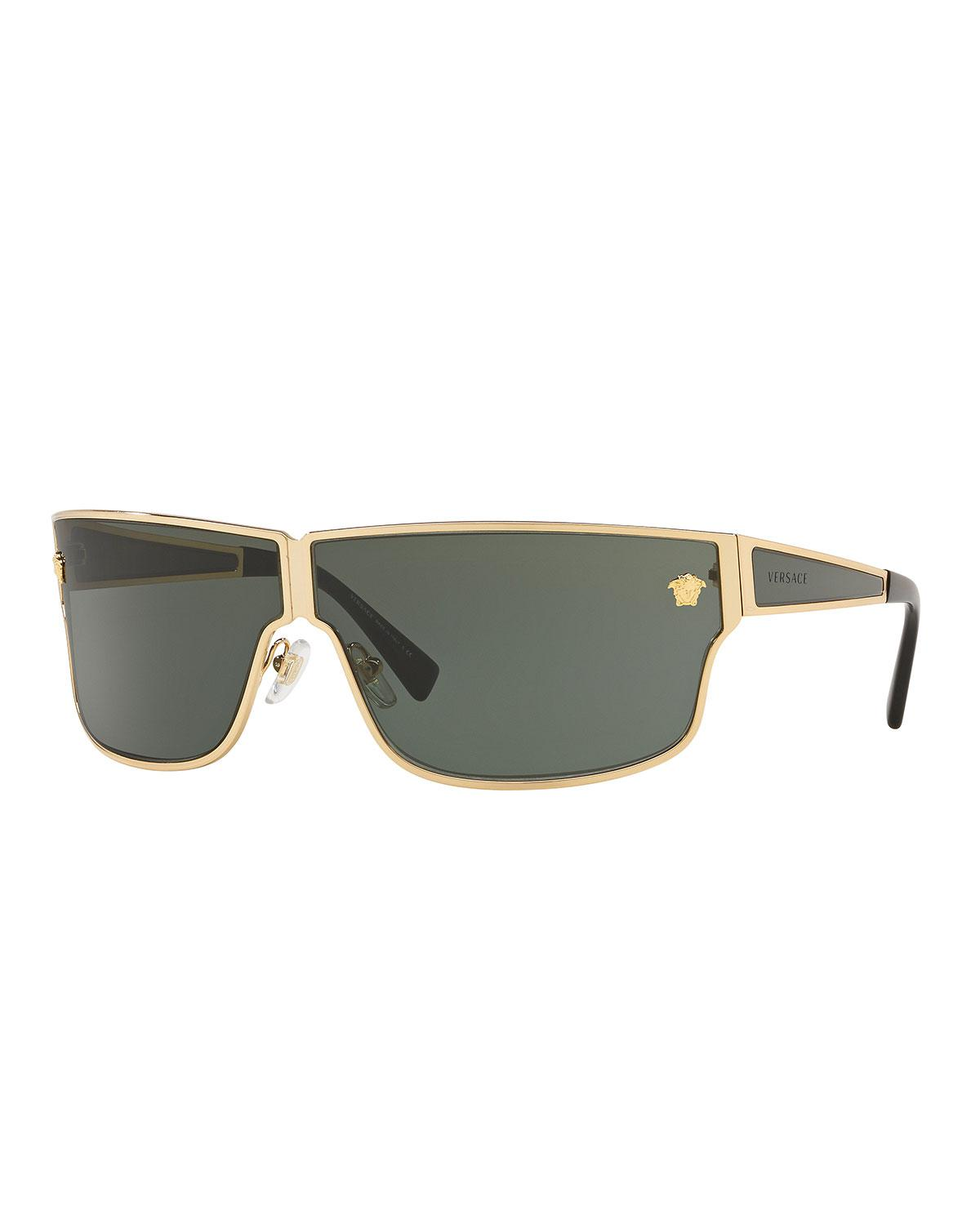 b35aa968ae Versace - Green 75mm Shield Sunglasses for Men - Lyst. View fullscreen