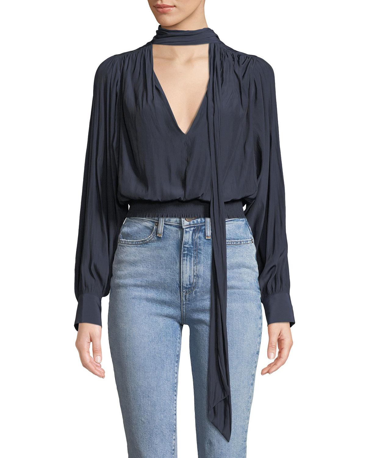93e086dc22b56 Lyst - Ramy Brook Winslow Shirred Tie-neck Long-sleeve Top in Blue