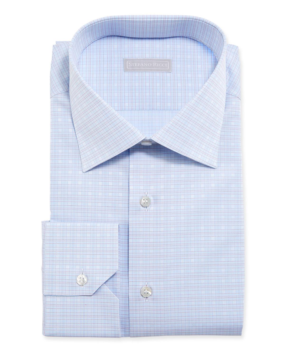 Lyst Stefano Ricci Mens Small Check Dress Shirt In Blue For Men