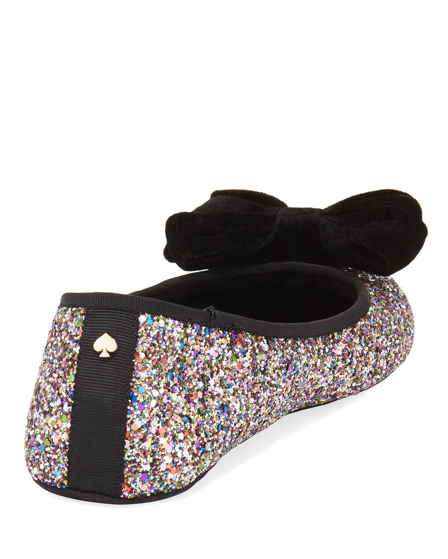 84332dd43033 Lyst - Kate Spade Sussex Velvet Bow Glittery Ballet Slippers in Metallic