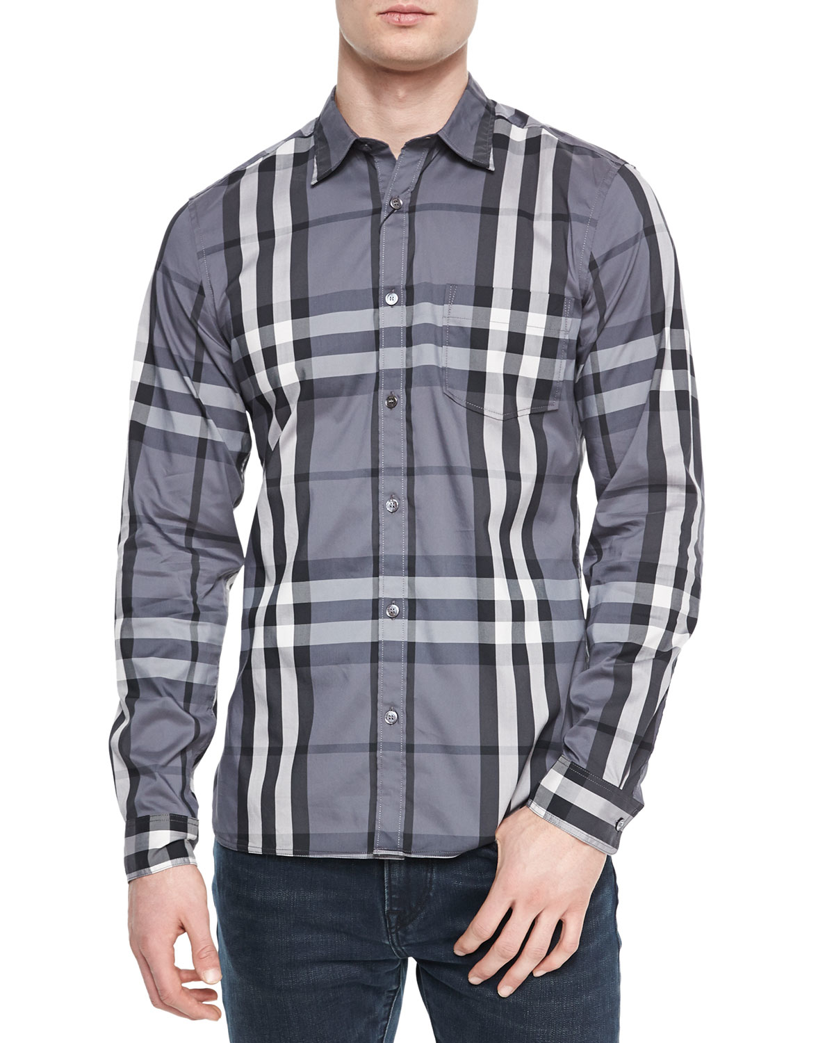 Burberry brit woven check sport shirt for men lyst for Burberry brit checked shirt