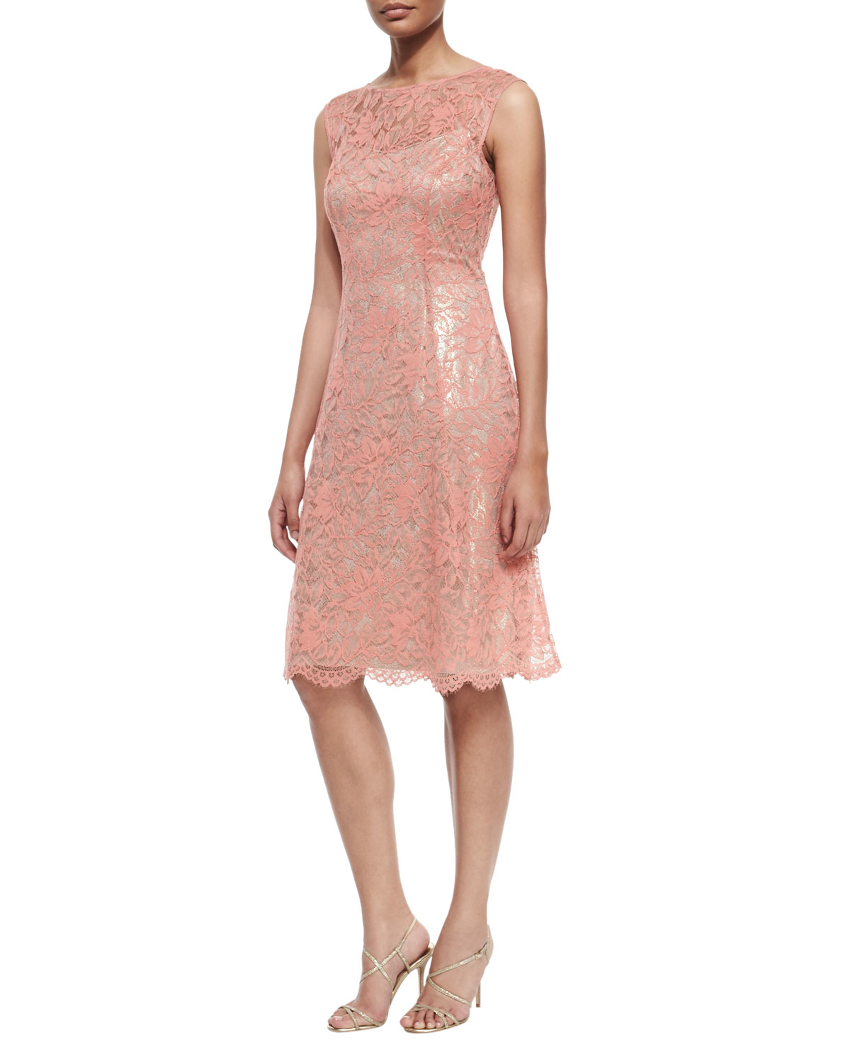 Lyst Phoebe Couture Lace Cap Sleeve Fit And Flare Dress