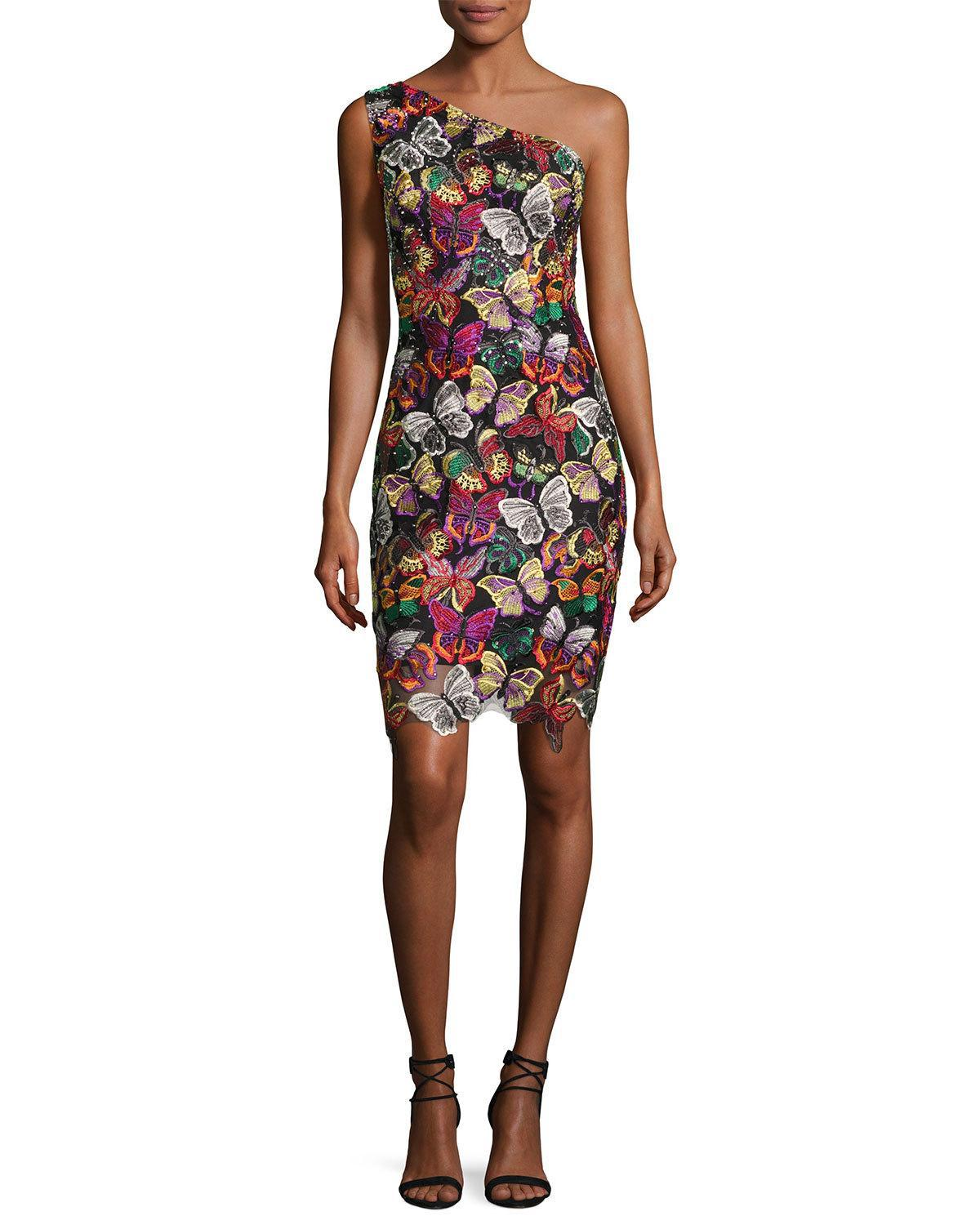 0f13a3ab14 Lyst - Jovani One-shoulder Beaded Butterfly Cocktail Dress