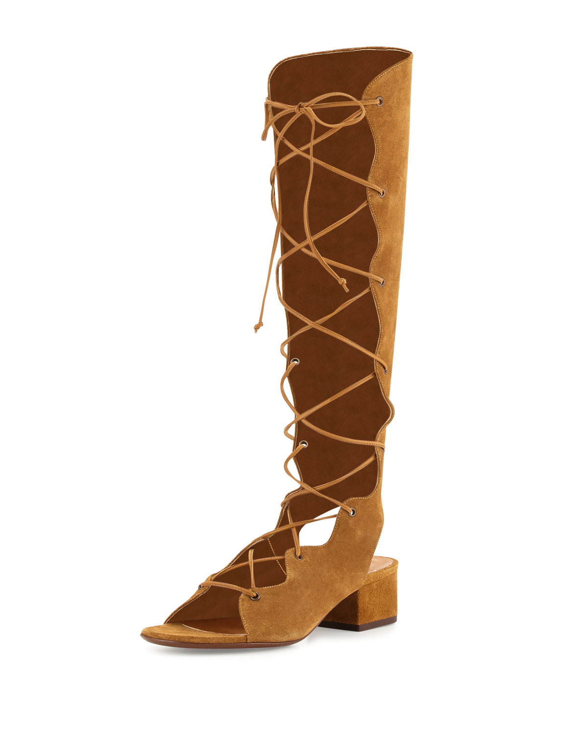 a0ca5d291cf4 Lyst - Saint Laurent Babies Suede Knee-High Gladiator Boots in Brown
