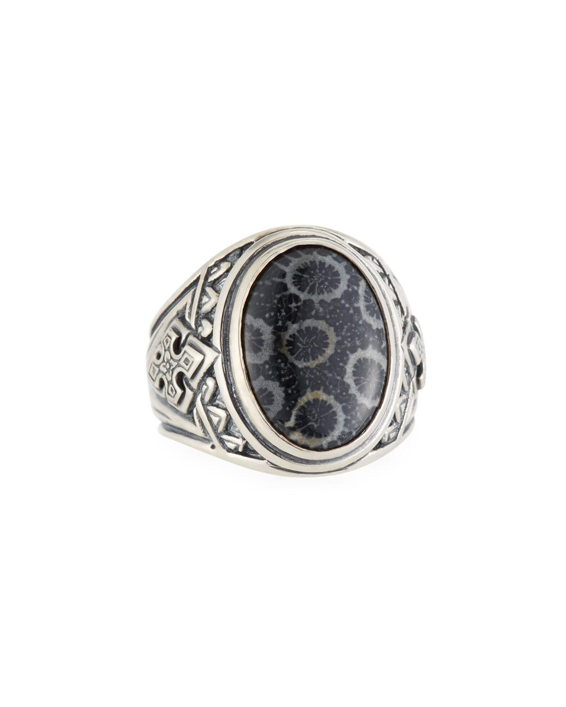 Konstantino Mens Sterling Silver Christogram Cross Ring yL8DD