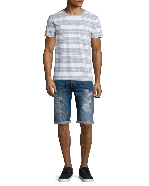 g star raw distressed straight leg denim shorts in blue. Black Bedroom Furniture Sets. Home Design Ideas