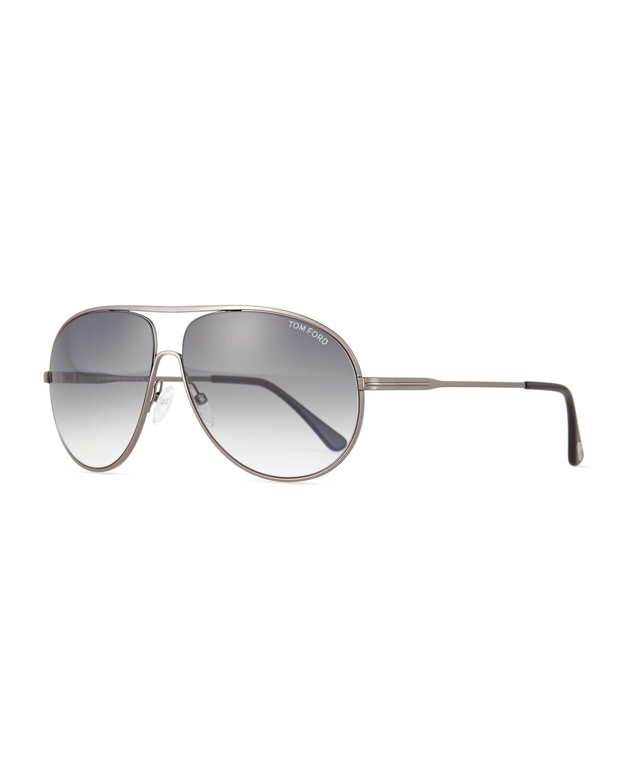 a54c74b597015 Lyst - Tom Ford Cliff Shiny Metal Aviator Sunglasses in Metallic