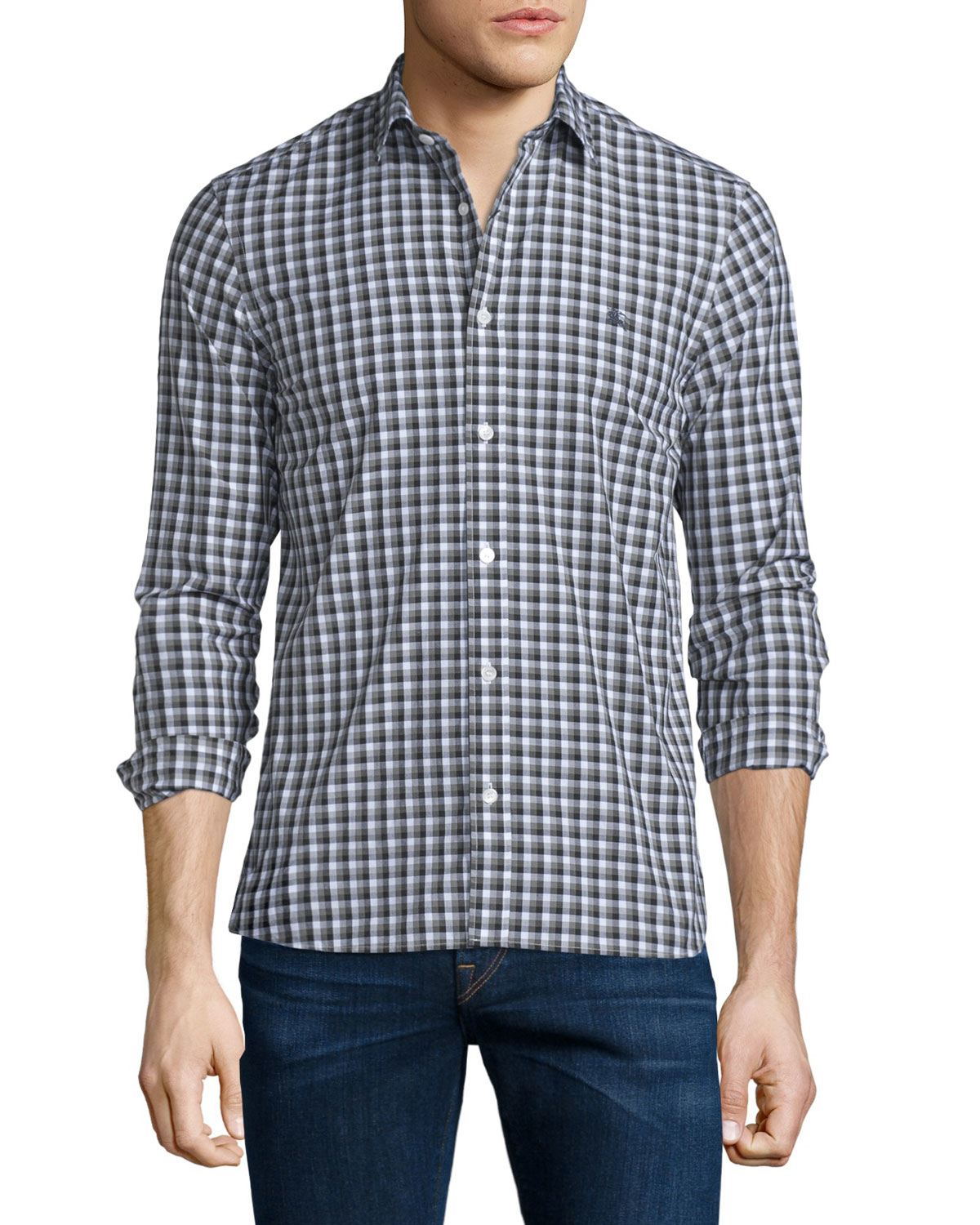 Lyst burberry brit garrison gingham long sleeve sport for Burberry brit green plaid shirt
