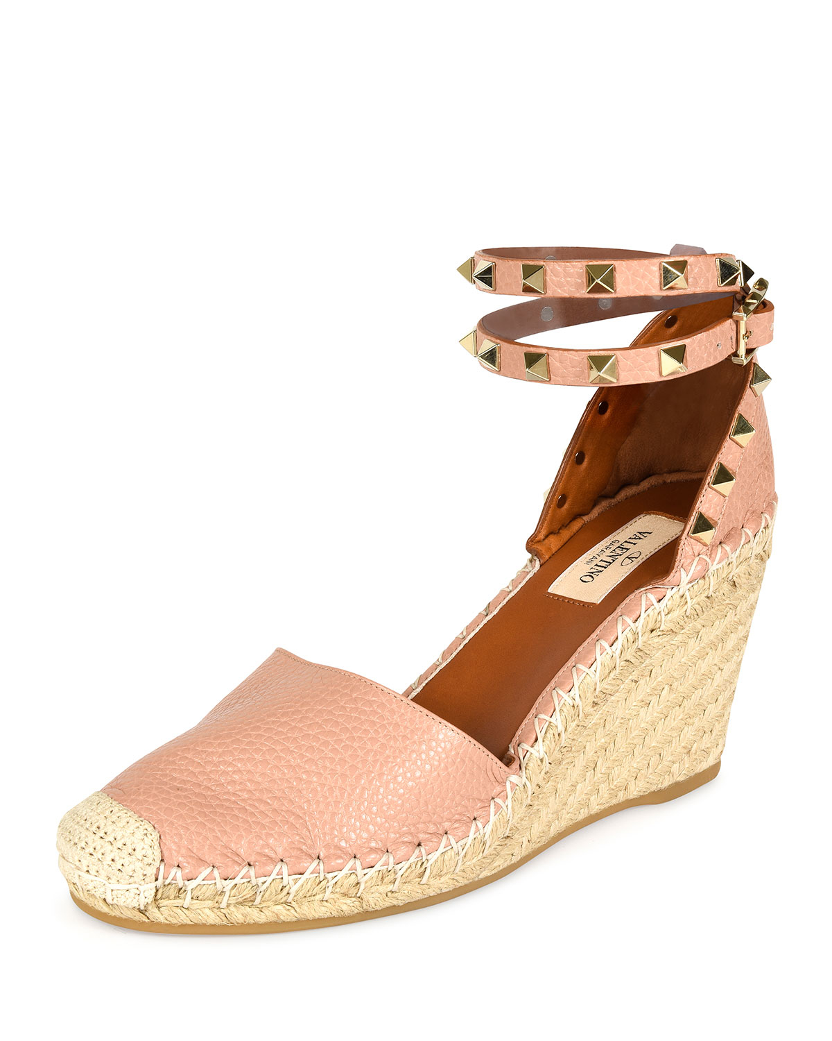 c28dec95821a Lyst - Valentino Rockstud Double Espadrille Wedge Pump in Natural