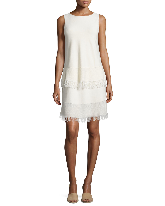 Theory Jurinzi Prosecco Fringe Trim Dress In White Lyst