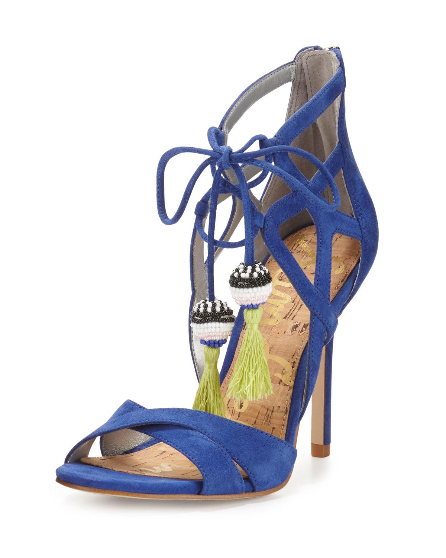 dd3af0fae Lyst - Sam Edelman Azela Strappy Tassel Sandal in Blue