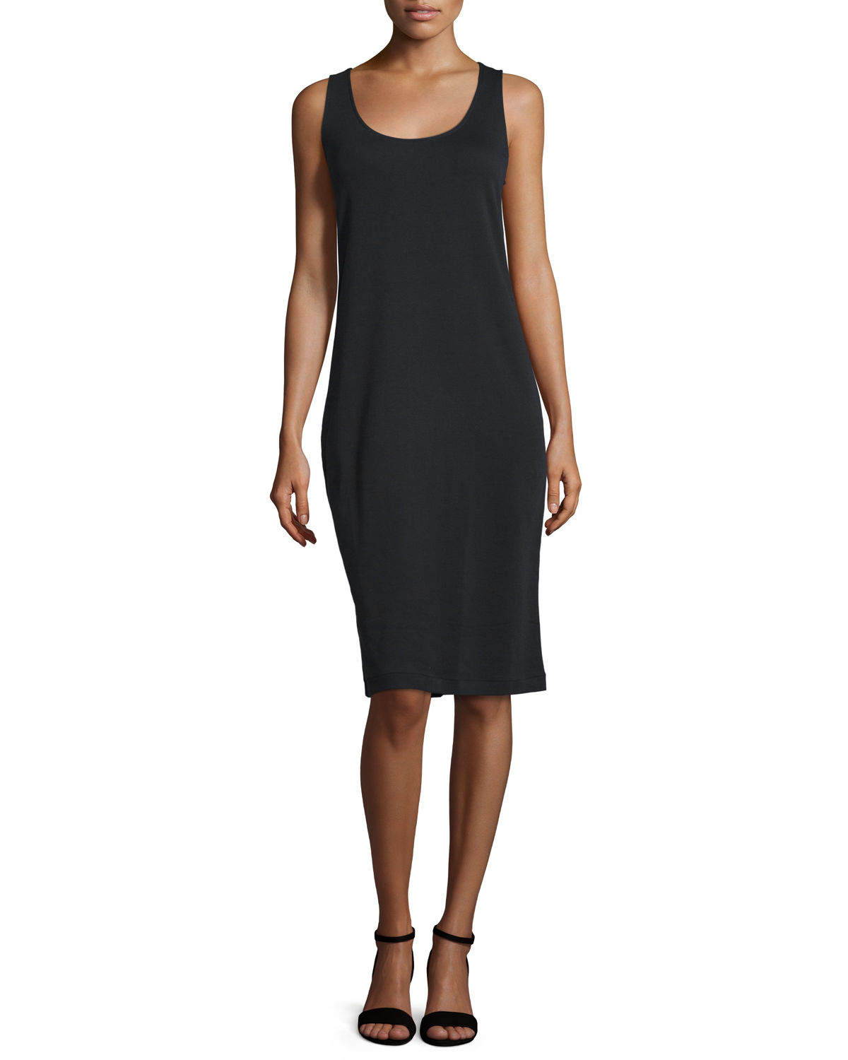 Joan Vass Sleeveless Luxe Pima Cotton Tank Dress In Black