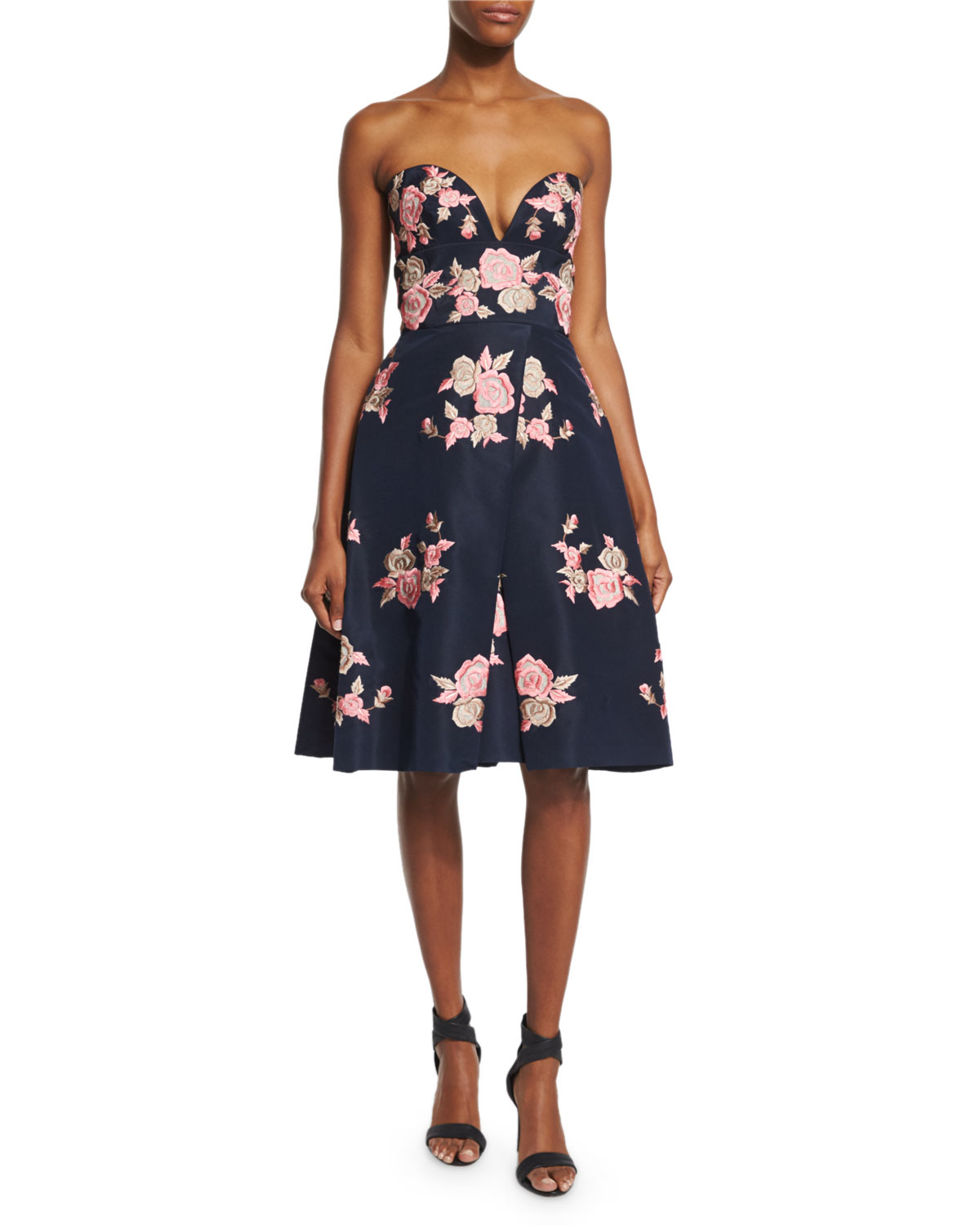 Naeem khan strapless floral embroidered cocktail dress in