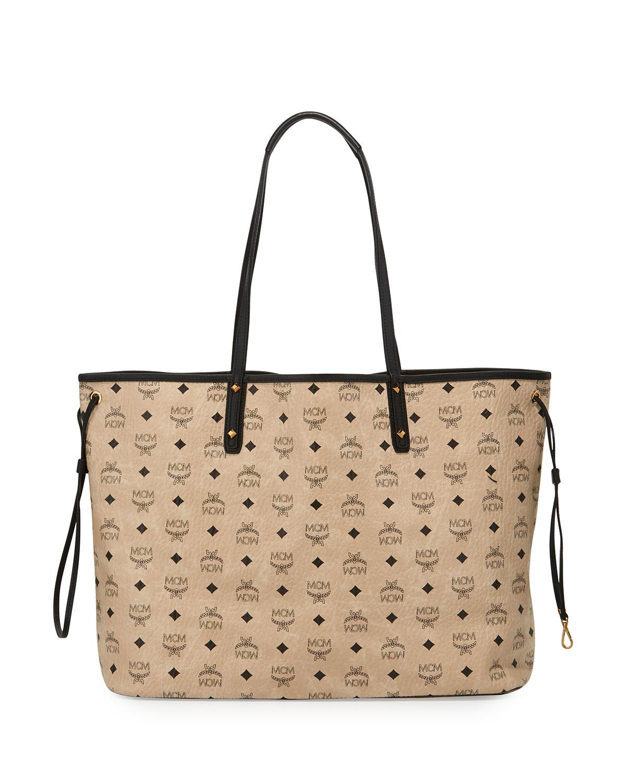 Mcm Large Reversible Shopper Tote Bag in Black (BEIGE) | Lyst