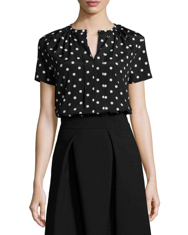 Carolina Herrera Polka Dot Short Sleeve Blouse In Black Lyst