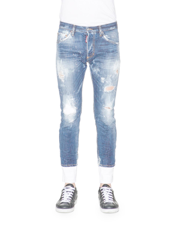 Dsquared² Bleach & Distressed Skinny-leg Denim Jeans In