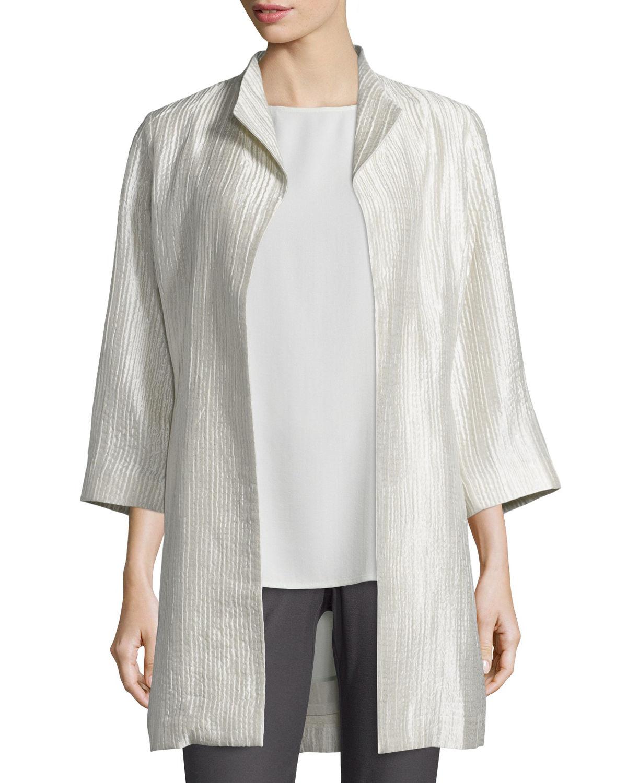 Lyst Eileen Fisher Silk Groove Silk Blend Long Jacket In