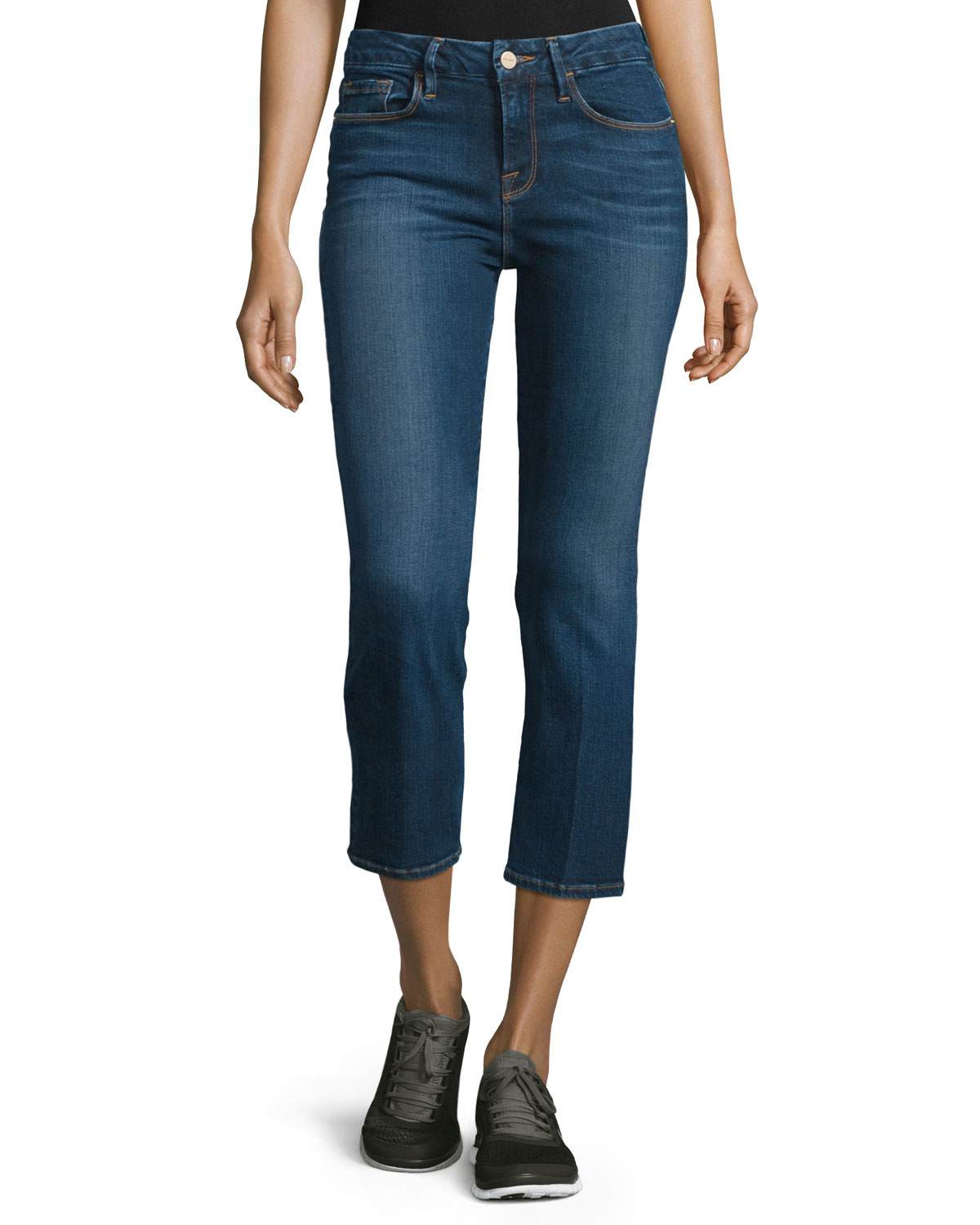 Frame Le Cropped Mini Boot Cut Jeans In Blue Lyst