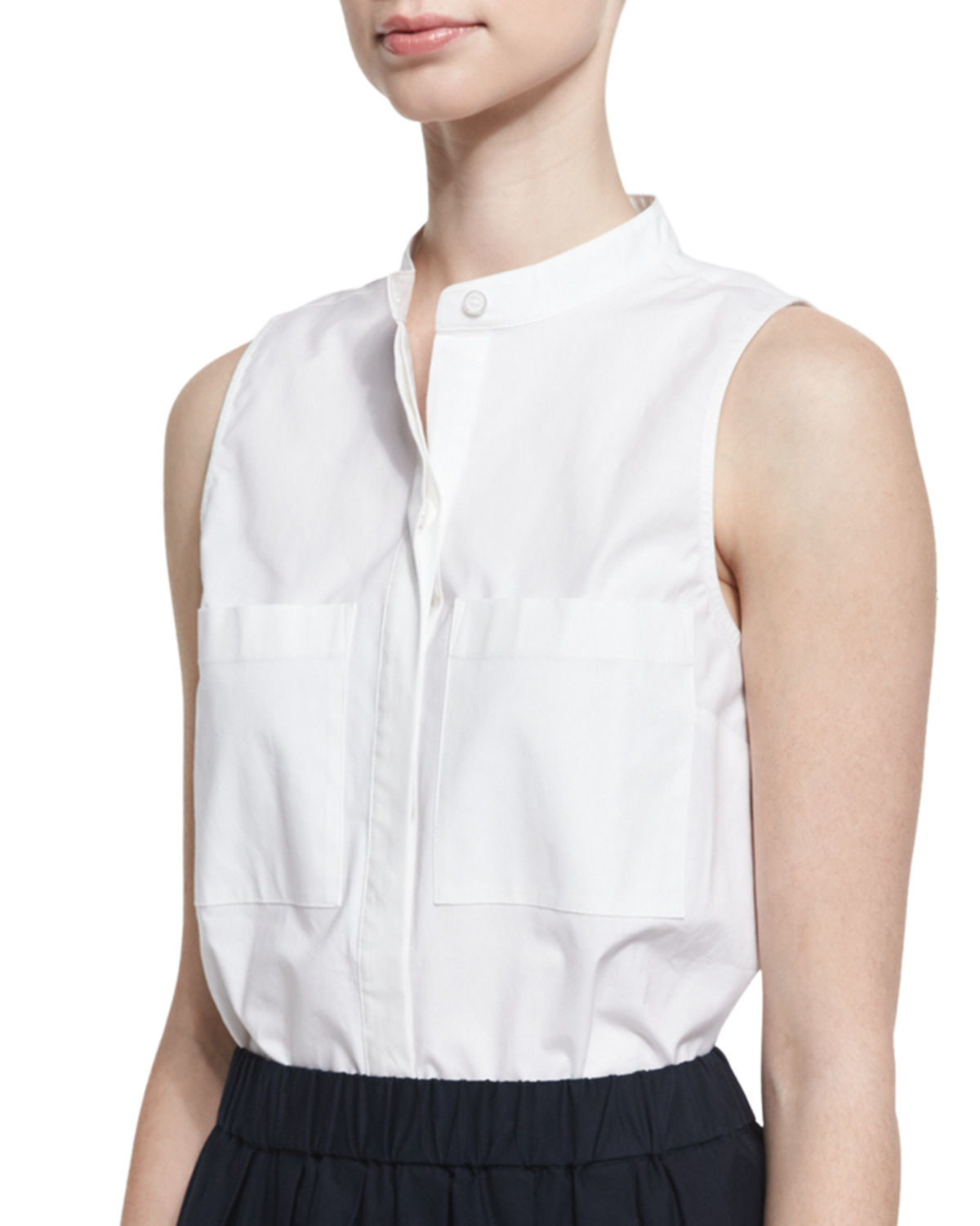 White cotton sleeveless blouse long blouse with pants for Sleeveless cotton button down shirts