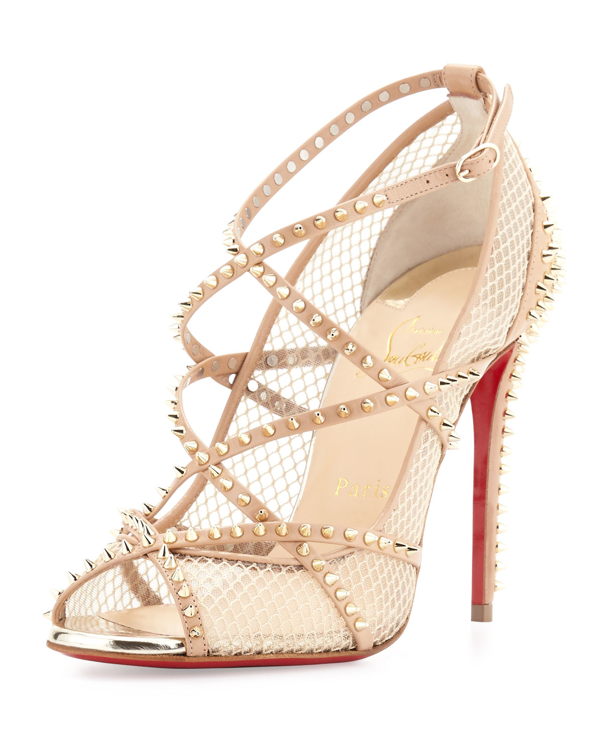 christian louboutin alarc spiked strappy mesh sandals