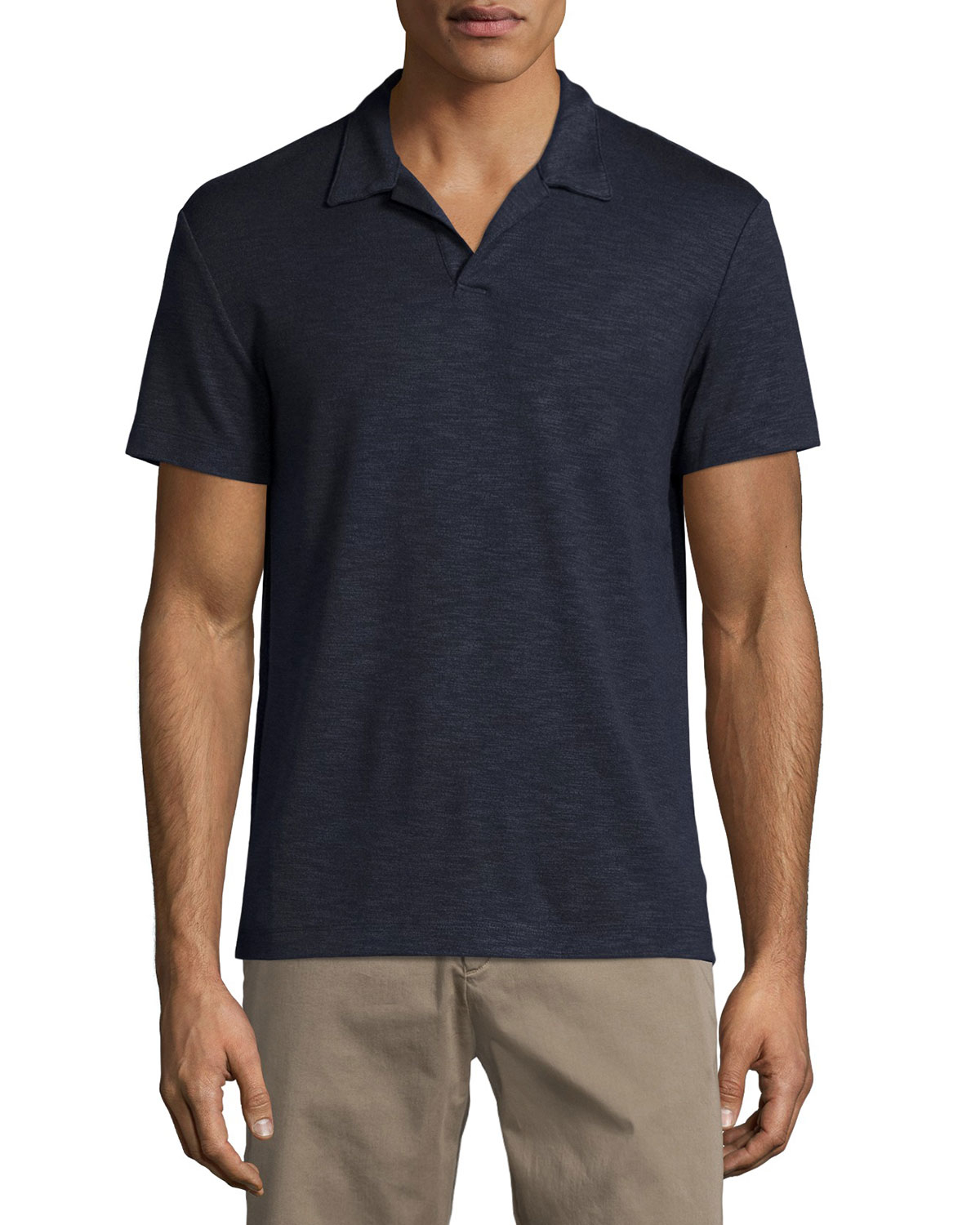 Theory esra anemone short sleeve slub polo shirt in blue for Polo shirts without buttons