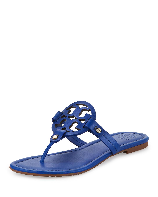 Lyst Tory Burch Miller Leather Logo Sandal In Blue