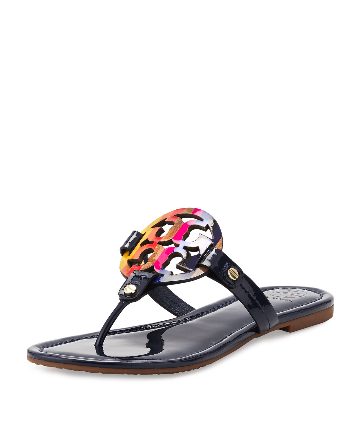 49ec7fb3c356 Lyst - Tory Burch Miller Rainbow Patent-Leather Logo Sandals in Black