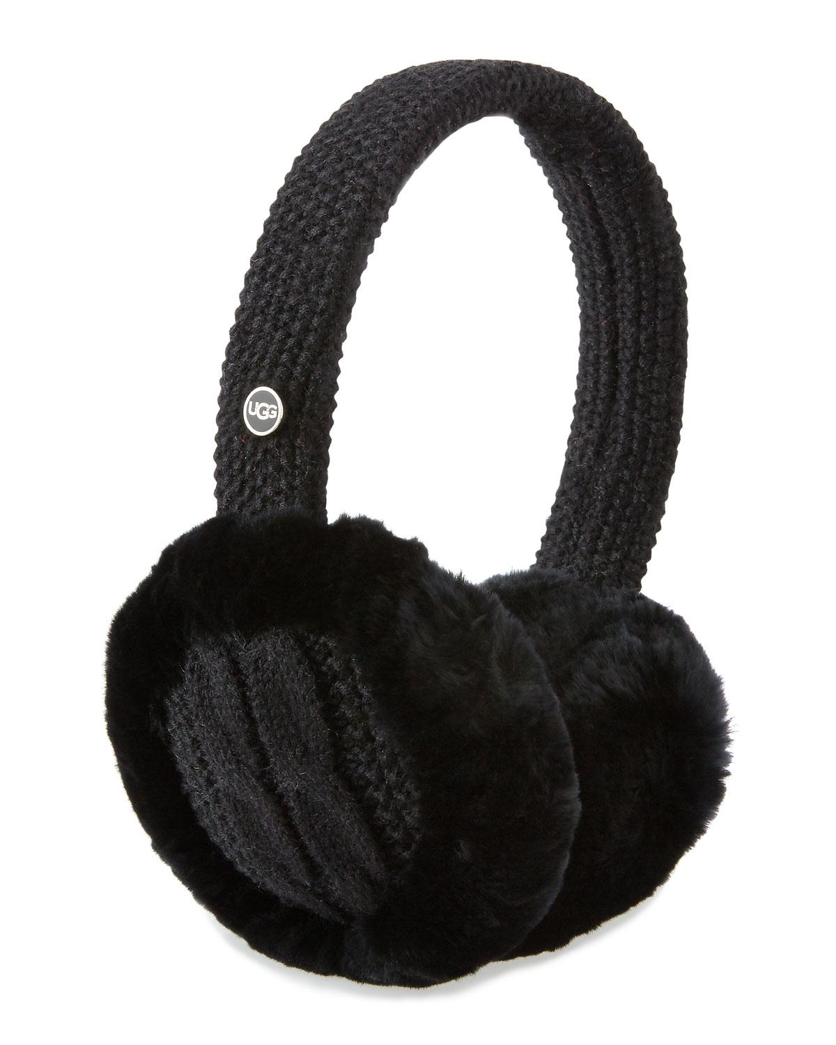 Lyst Ugg Wired Cable Knit Crochet Earmuffs In Black