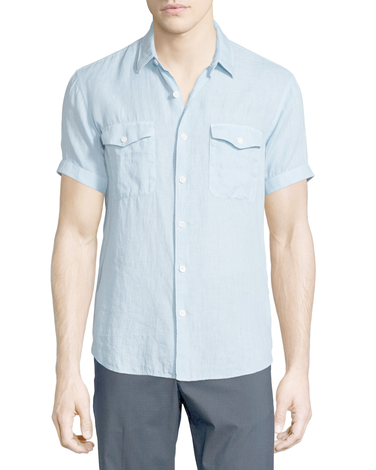Theory short sleeve linen shirt in blue for men fading for Short sleeve linen shirt