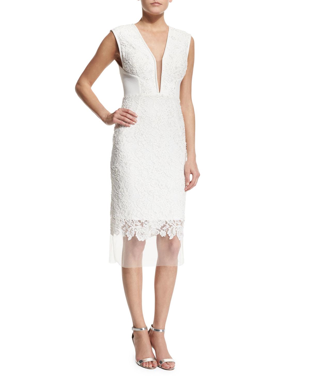 White Deep V Neck Cocktail Dress 90
