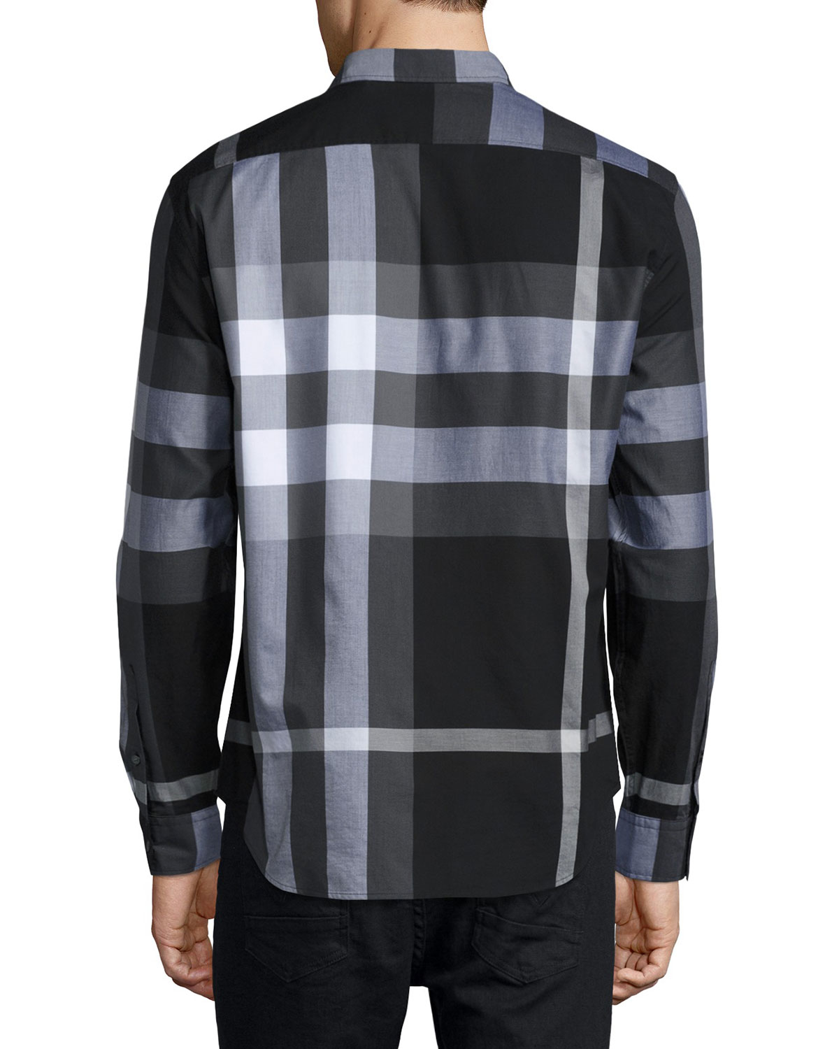 Burberry brit exploded check sport shirt in black for men for Burberry brit checked shirt
