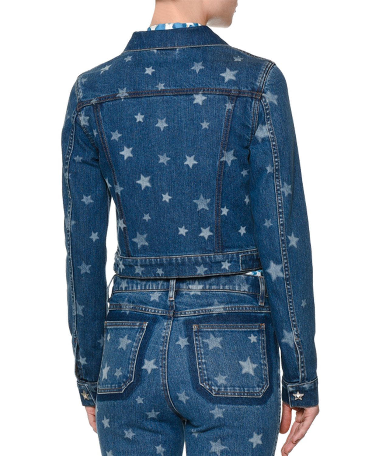 Lyst Valentino Laser Star Print Cropped Jean Jacket In Blue