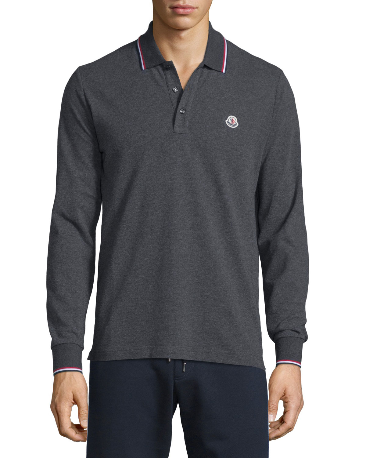 Moncler Tipped Long Sleeve Polo Shirt In Black For Men Lyst
