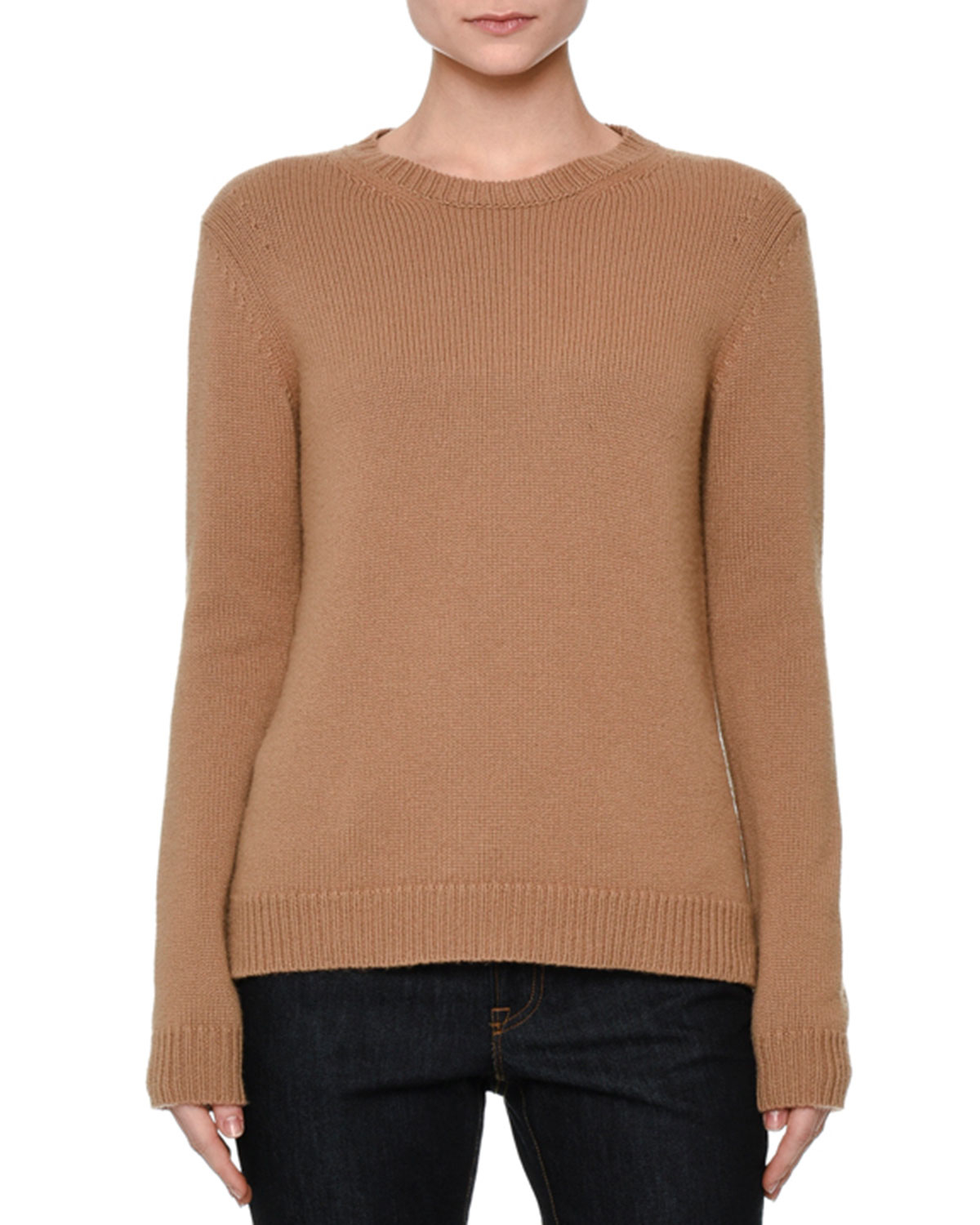 Valentino Rockstud Trim Cashmere Pullover In Natural Lyst