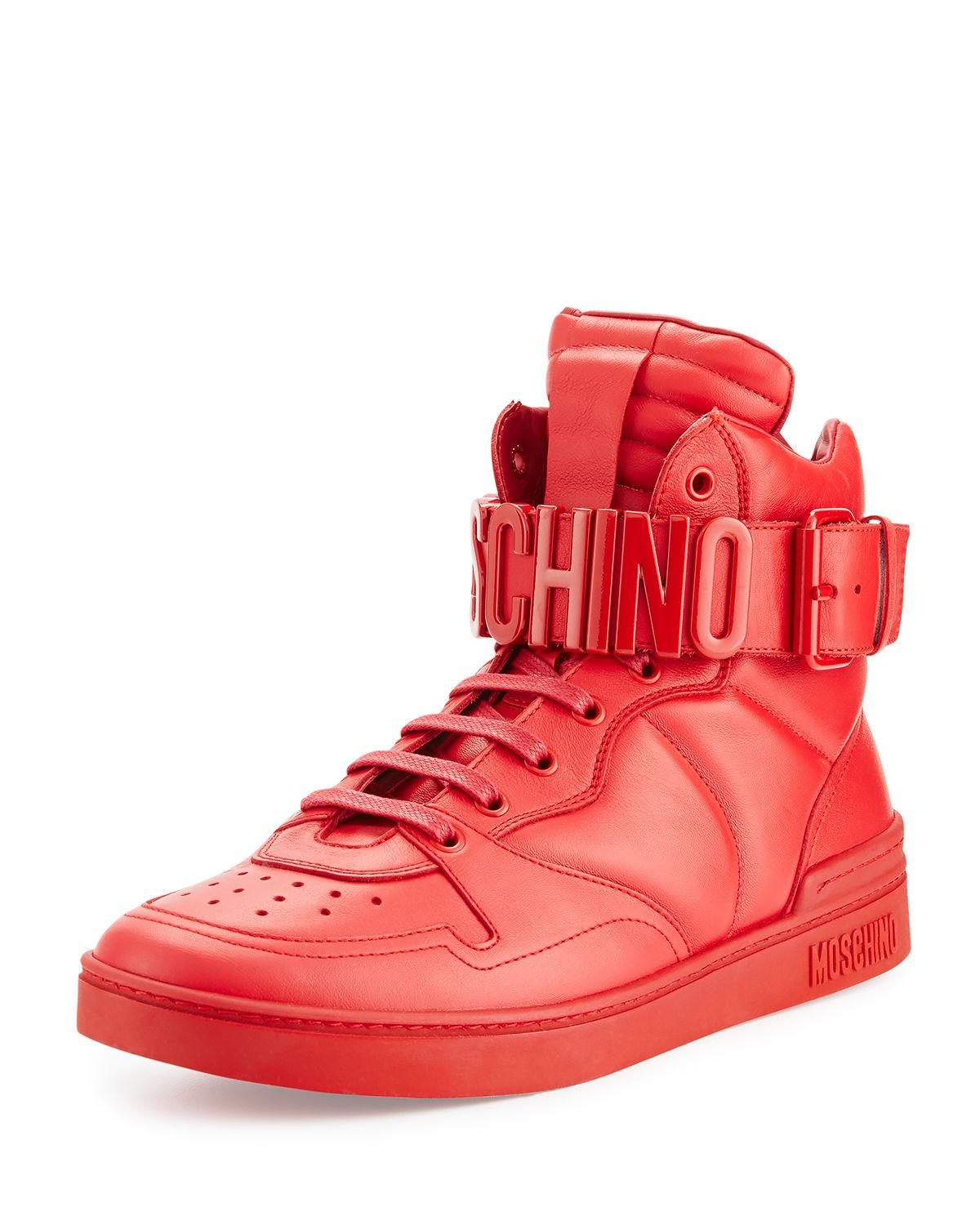 Moschino Leather High Top Sneaker With Logo Lettering In