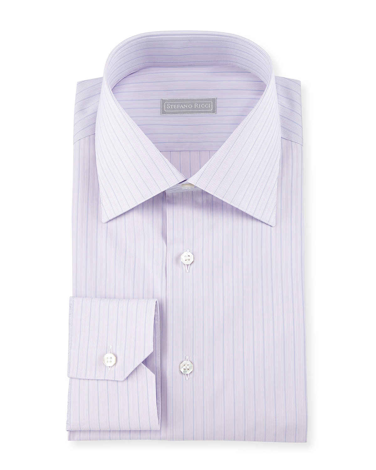 Stefano ricci thin striped woven dress shirt in purple for for Purple striped dress shirt