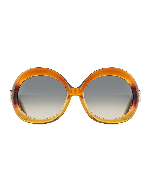Balenciaga Round Acetate Sunglasses in Orange